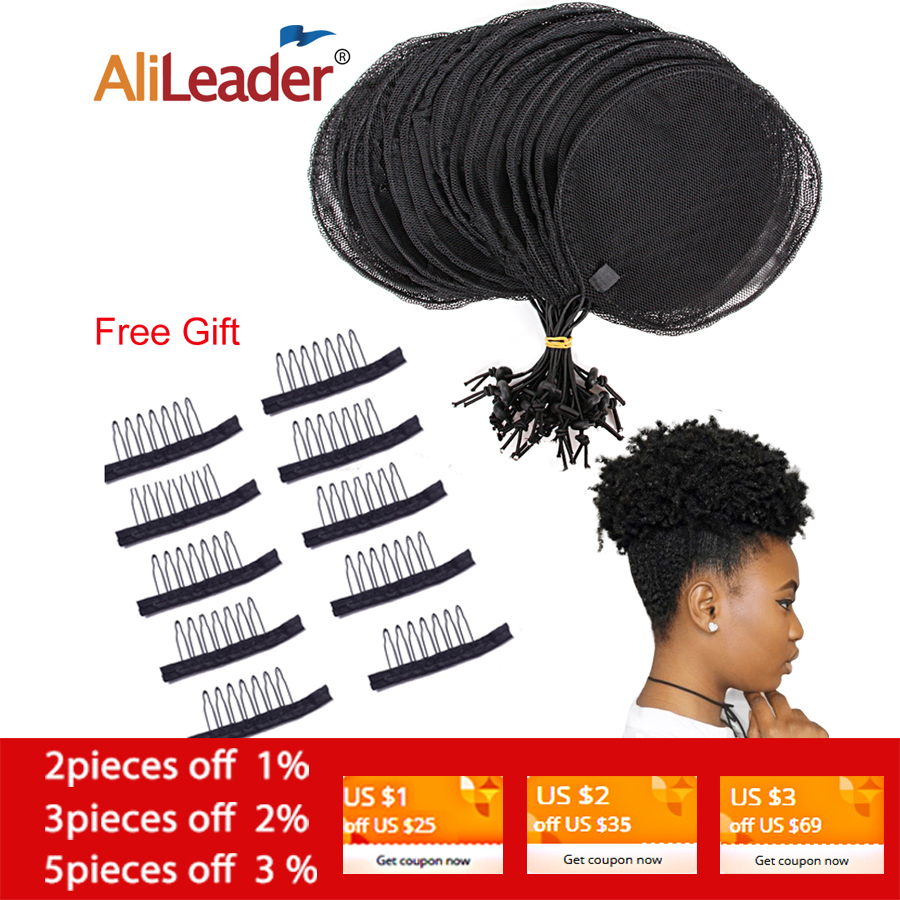Alileader S/L Ponytail Net 5Pcs Hairnet Wig Cap For Making Ponytail Afro Puff Bun Net Weaving Cap Wig Making Tool Round Square