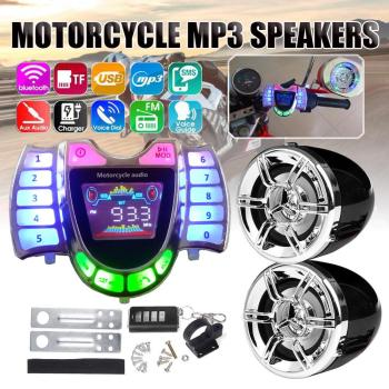 Motorcycle Audio Handsfree bluetooth Stereo Speakers FM Radio Sound System Anti-theif Amplifier MP3 Music Player Remote Control motorcycle mutilmedia mp3 music player speakers audio fm radio security alarm wireless bluetooth remote with usb tf card slot