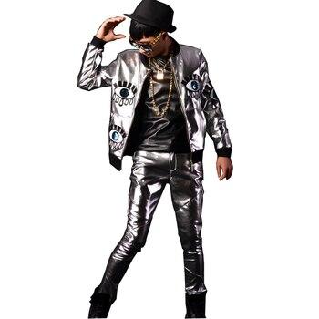 Silver Big Glasses Splice PU Leather Jacket Men Fashion Hip-hop Baseball Coat Stage Show Nightclub Bar Singer Dancer Costumes