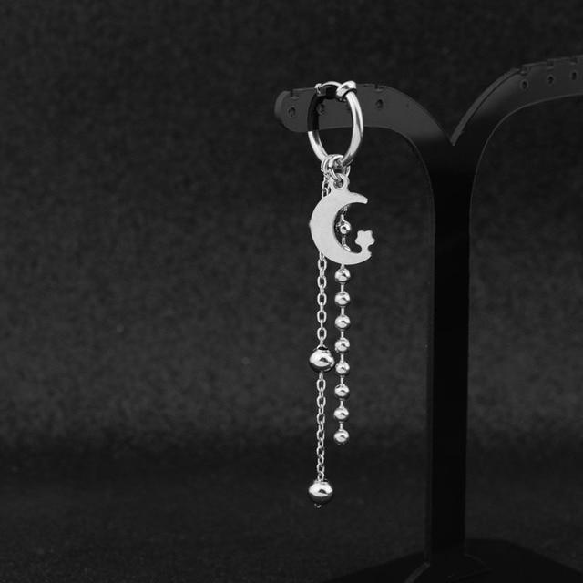 Suga Stainless Steel Punk Stud Earrings Moon Star Long Chain Pendant  3