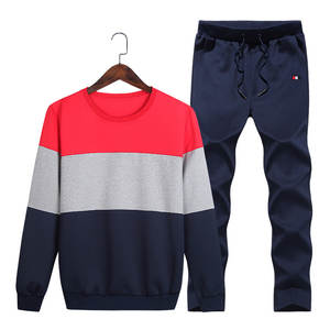 Men New Style Spring And Autumn Sports Leisure Suit Mixed Colors round Neck Sweater Men's