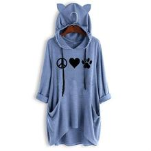 New Fashion T-Shirt For Women Cat Paw Letters Print Mid Sleeve Hooded Top Tshirt Femme Graphic Tees
