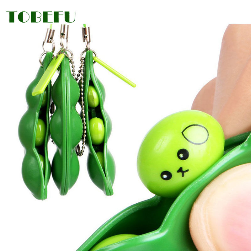 Infinite Squeeze Edamame Bean Pea Expression Chain Key Pendant Ornament Squishy Stress Relieve Decompression Toys Antistress
