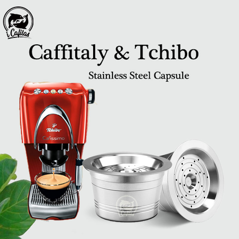 For Tchibo Cafissimo Coffee Capsule ALDI Expressi Reusable K-fee Coffee Filter Pod Stainless Steel Cup Cafeteira Tamper Spoon