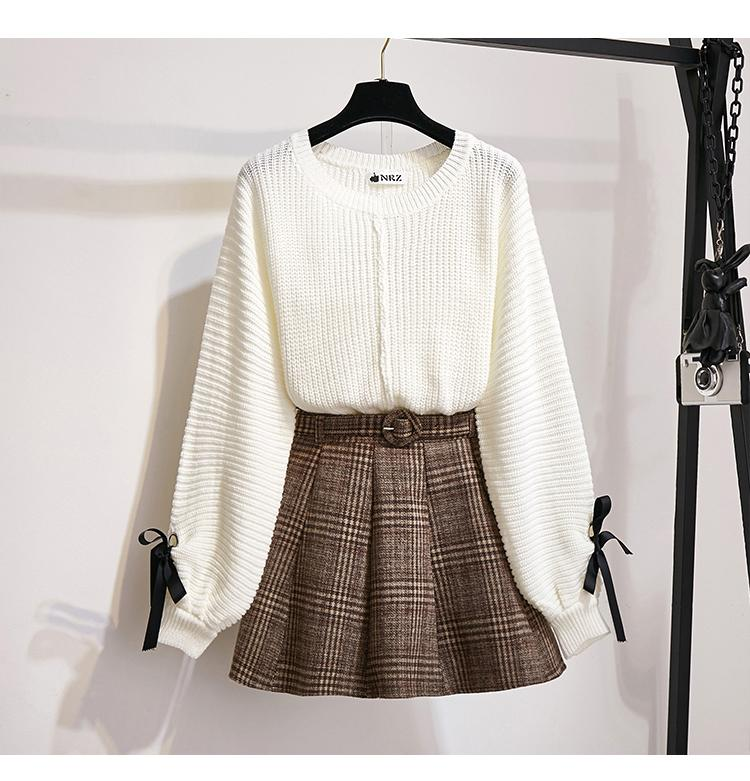 He992ba518cb84e74b2c2ad22c347128a5 - ICHOIX women 2 piece set knitted tops and skirt set Korean style student casual two piece outfits fall winter set clothing