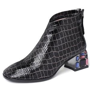 Image 2 - FEDONAS סתיו חורף Blingbling קריסטל המפלגה נעלי אישה באיכות כבש נשים קרסול מגפי קלאסי גדול גודל מגפיים קצרים