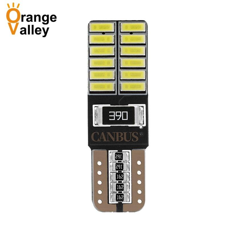 100 шт. супер яркий T10 LED 194 501 W5W 24 SMD 4014 Canbus безошибочные автомобильные интерьерные лампы для автозазора DC 12V