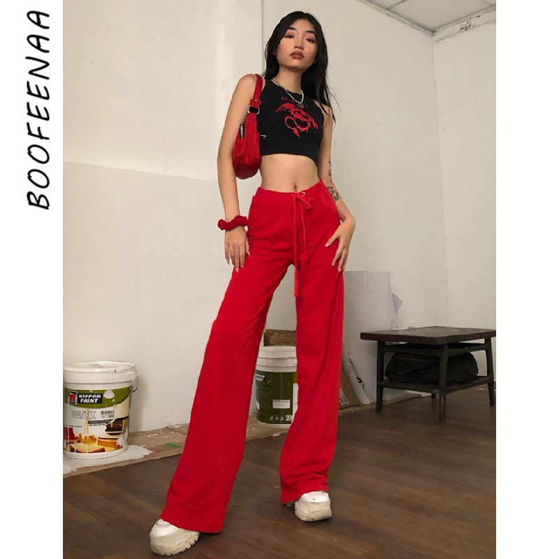 BOOFEENAA High Waist Wide Leg Pants Women Streetwear Letter Embroidery Velvet Red Black Sweatpants Harajuku Trousers C94-AC97