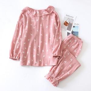 Image 4 - New Cotton Crepe Pyjamas Women Pajamas Sets Spring Long Sleeve Sleepwear O Neck Femme Lounge Pijama Mujer Household clothing