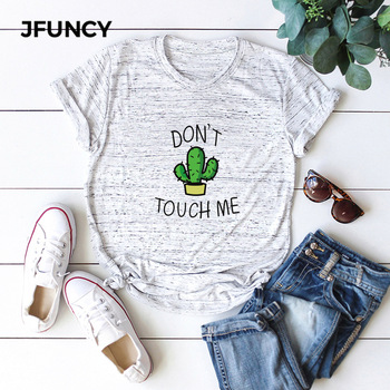 JFUNCY Creative Cactus Print Oversize Women Loose Tee Tops 100% Cotton Summer T-Shirt Woman Shirts Fashion Casual Mujer Tshirt jfuncy cute avocado cat print oversize women loose tee tops 100% cotton summer t shirt woman shirts fashion kawaii mujer tshirt