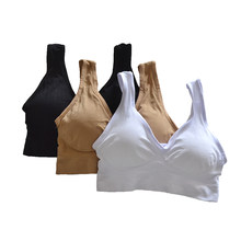 S-5XL 3pcs/set sexy active bra With removable Pad Seamless push up women plus size underwear wireless fitness body shape Bra(China)