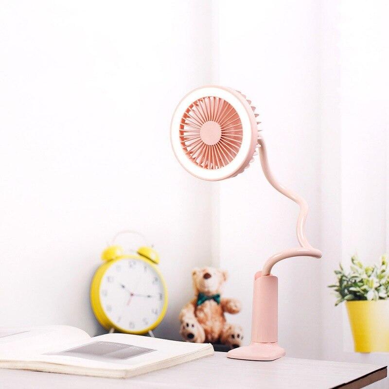 Mini 2 Wind Modes Fans Clip-on Desktop Lamps With 2 Lighting Modes Adjustable Goose Neck Dense Net Cover Fan Lightweight Compact