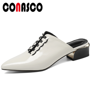 CONASCO Summer Fashion Genuine Leather Cow Patent Leather Women Sandals Mules Pumps Slippers Thick Heels Cross-Tied Shoes Woman