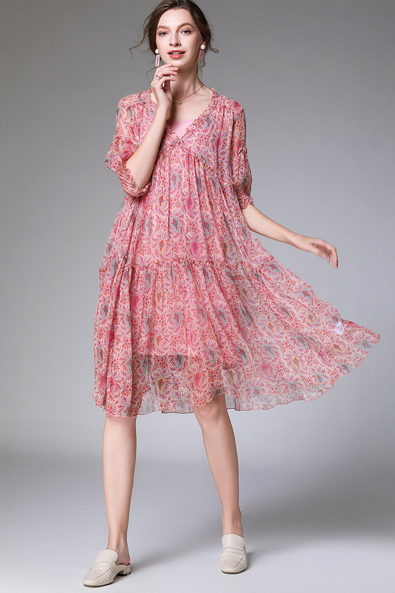 us $35.2 36% off|2020summer women elegant floral chiffon dress plus size  loose v neck lantern sleeve flare dress holiday beach casual
