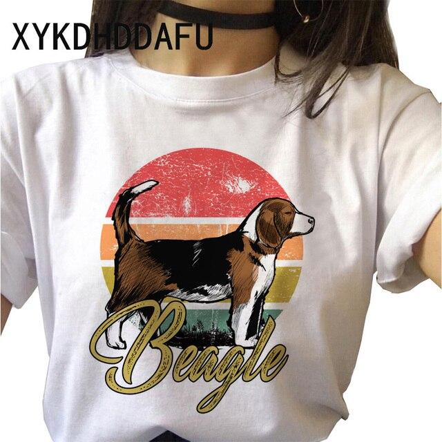 Beagle T Shirt Dog Women Kawaii Harajuku Top Tee Aesthetic Ulzzang Tshirt Femme Funny Vintage Casual O-Neck T-shirt Female 2020 2