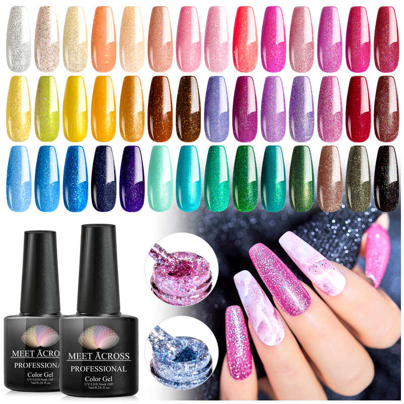Bertemu Di 8 Ml Colorful Gel Nail Polish Glitter Mengkilap Payet Kuku UV Rendam Off LED Gel Pernis Kuku Seni gel Lacquer