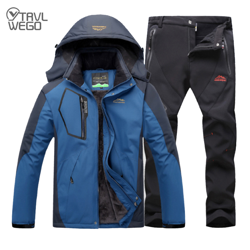 TRVLWEGO Outdoor Ski Suit Men's Windproof Waterproof Thermal Snowboard Snow Skiing Jacket And Pants sets Winter Sports Clothes