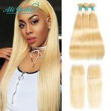 Ali Grace Blonde 613 wiązki z zamknięciem 100% doczepiane proste włosy wiązki z zamknięciem miód blond 1B 613/613 włosy z zamknięciem