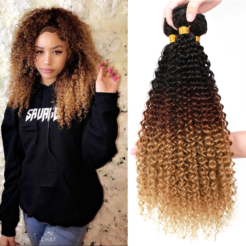 YunRong Ombre Blonde Synthetic Kinky Curly Hair Extensions 100g/Piece Black Roots T1B/4/27 Afro Curly Bundles Heat Resistant