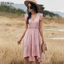 2021 Fashion Short Sleeve Woman Dress Summer Pink V Neck Lace Hollow Out Slim Midi Dresses For Women Casual Elegant Vestidos