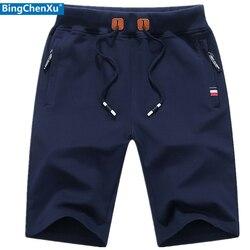 Calções casuais dos homens do esporte dos homens de algodão curto jogger praia calças curtas verão homem fitness musculação marca shorts respirável
