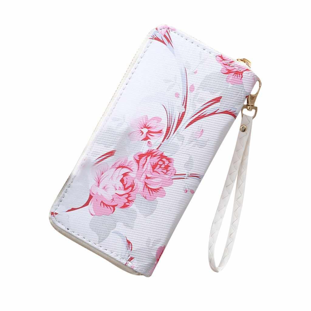 צמיד נשים ארוך מצמד ארנק גדול קיבולת ארנקים פרחי נקבה ארנק גברת ארנקי טלפון כיס כרטיס מחזיק Carteras