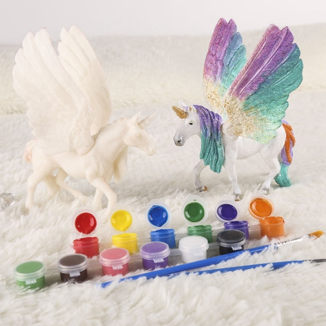 DIY Unicorn Blank Model Hand Painting Graffiti Fly Horse set 42 pieces of children's educational toys 2
