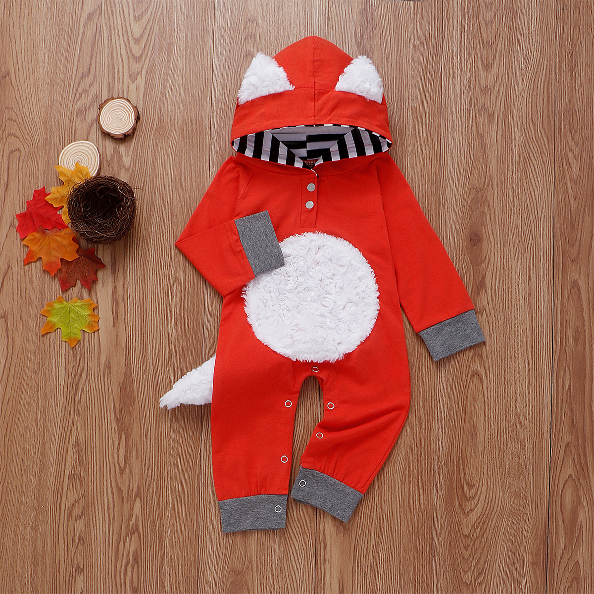 Newborn Infant Baby Girls Boys D Cartoon Fox Hooded Romper Jumpsuit Outfits Clothes Hoodies Kids baby