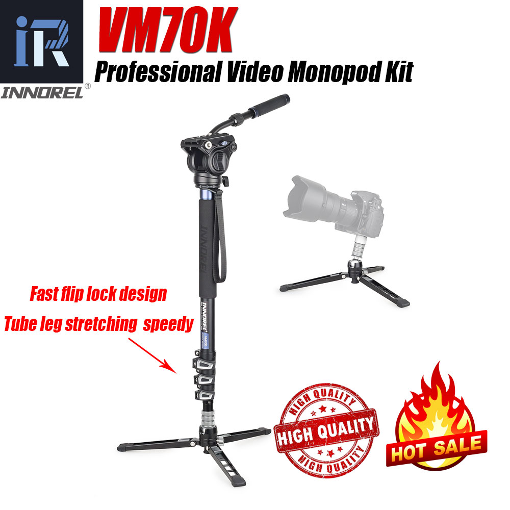 INNOREL VM70K Professional Video Monopod Kit with Fluid Head and Removable Tripod Base for DSLR Telescopic Camera Camcorders