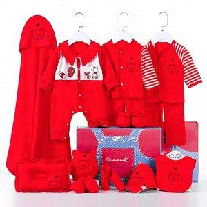 17 предметов, комплект одежды для новорожденных мальчиков костюм для младенцев из 100% хлопка Одежда для маленьких девочек, комплекты со штана...