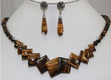 free shipping Amazing! African Roar Tiger's Eye Necklace Earring(China)