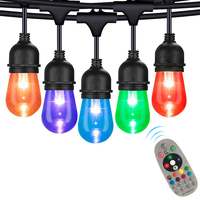 S14 Outdoor String Light 15M Commercial Grade LED String Lights RGBW LED Retro Edison Filament blub for Christmas Holiday