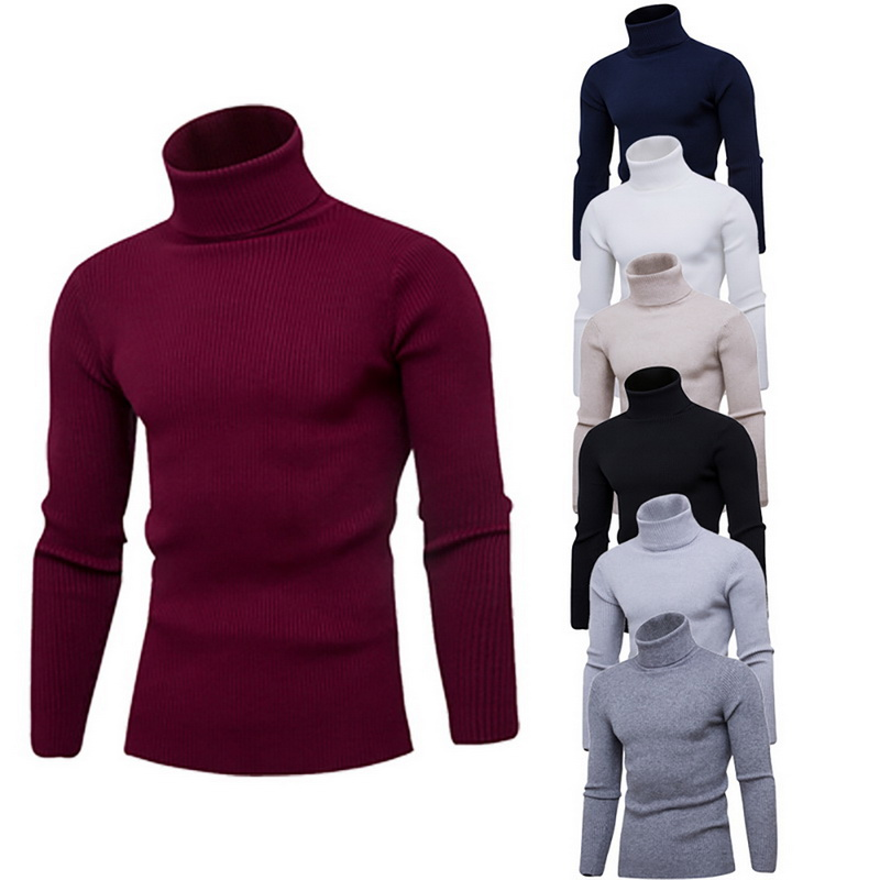 Spring Autumn Men's Casual Slim Fit Basic Turtleneck Sweater Tops Knitted Pullover Turtleneck Pullover Male Double Collar Tops