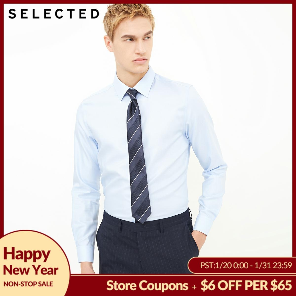 SELECTED Cotton-blend V-neck business long-sleeved shirt |418105543