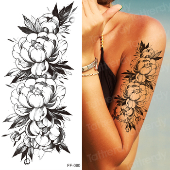 tattoo sticker women flower rose peony black tatouage temporaire femme temporary sleeve tattoo waterproof sexy body art fashion 5
