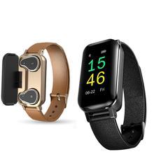 T89 Dual Bluetooth 5.0 TWS Earphone Smart Bracelet Heart Rate Blood Pressure Tracker Smart Watch Men For IOS Android Phones