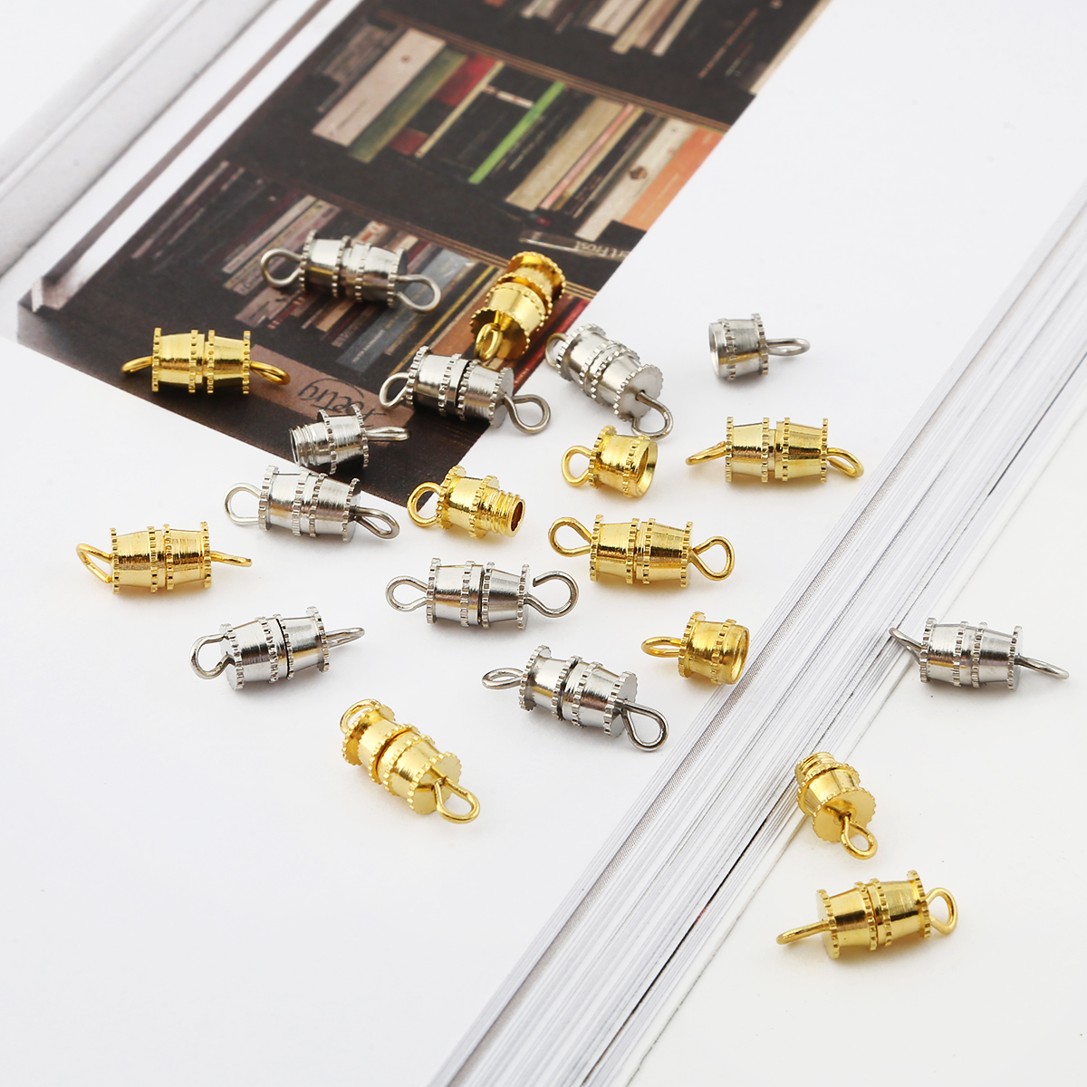 New 10Pcs 4x7/5x7mm Copper Metal barrel clasps Screw Clasp Buckle Suit for Necklace Bracelet Craft For DIY Jewelry Finding(China)