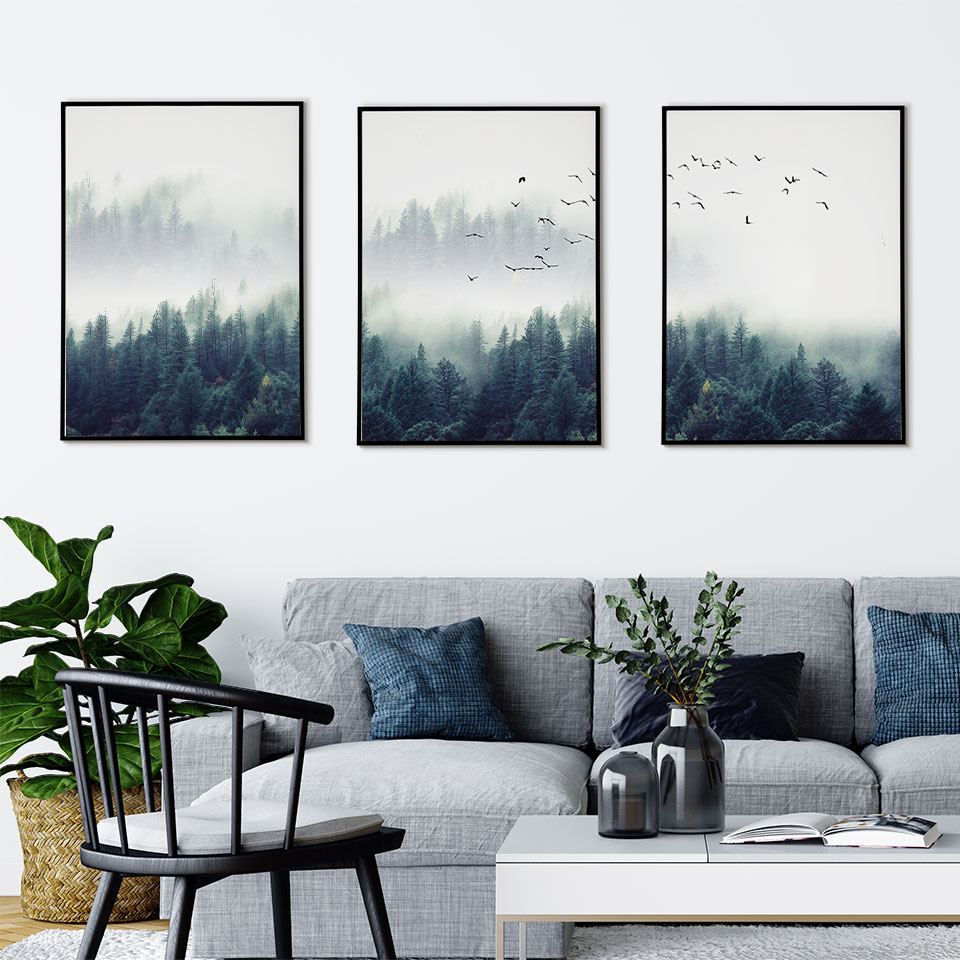 Nordic Poster Pictures Canvas-Painting Wall-Art Landscape Forest Prints-On-The-Wall Living-Room