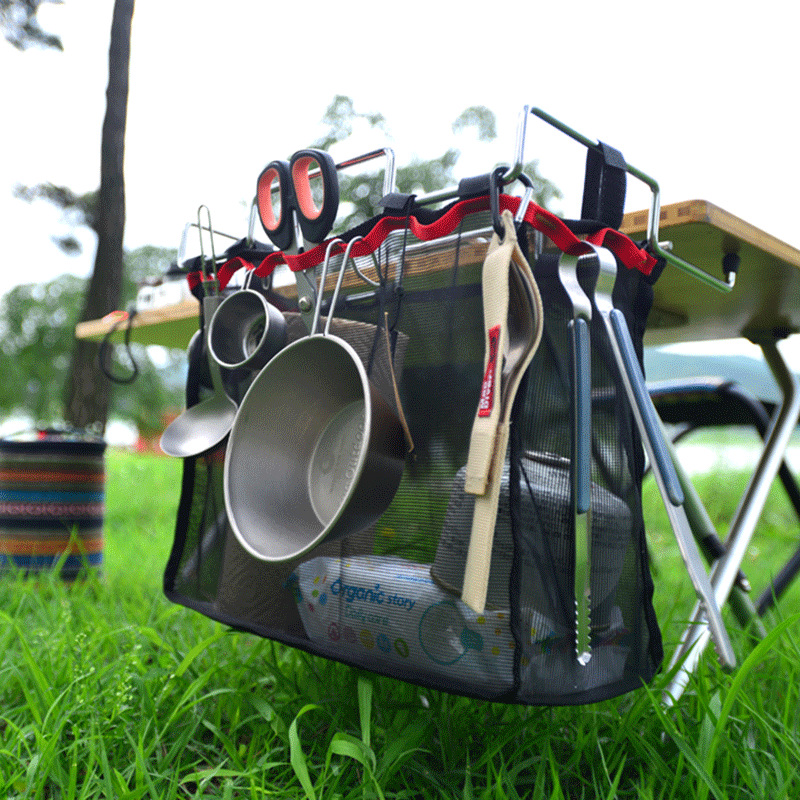 NEW Outdoor Camping Portable Storage Rack Kitchen Storage Net Bag Picnic Table Storage Rack Barbecue Tool Storage Net Hanging