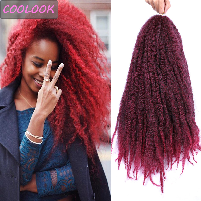 Puff Marley Braids Hair 18 Inch Afro Kinky Curly Hair for Women Ombre Synthetic Burgundy Marley Crochet Braiding Hair Extensions
