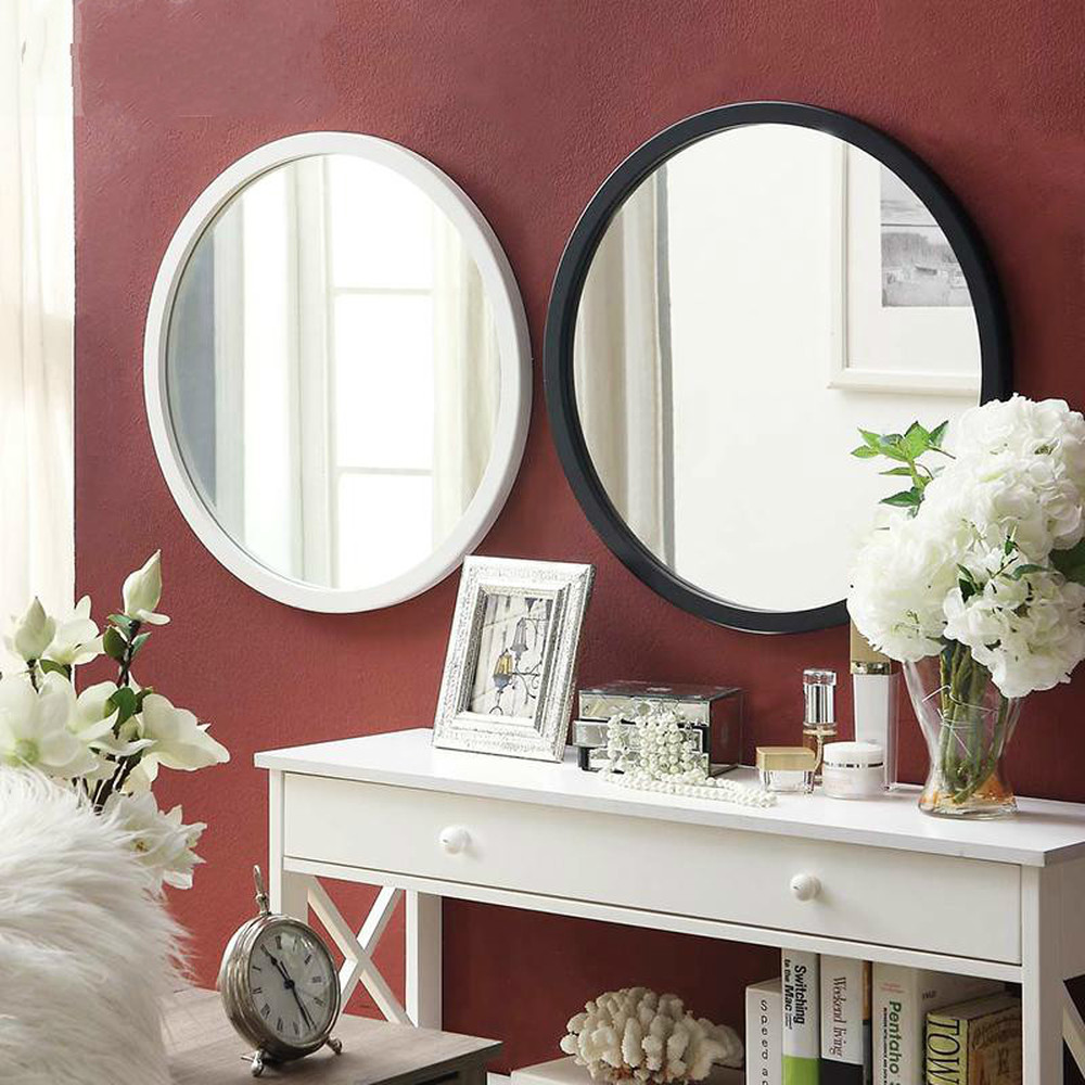 Simple wooden mirror dressing table wall mounted vanity mirror round bathroom vanity mirror white / black WF927158
