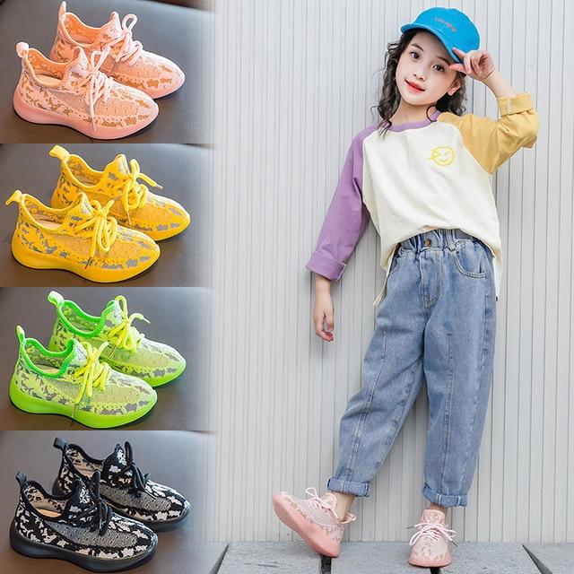 Çocuk ayakkabı kızlar ayakkabı 2020 erkek ışık ayakkabı çocuklar örgü parlayan spor koşu eğitmeni Sneakers kız rahat ayakkabılar erkek