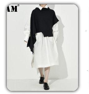 [EAM] 2019 Spring Plus Size Long Shirts Women Blouses Long-sleeve White Loose Tops Black White Cotton Shirt Big Size C006111 19