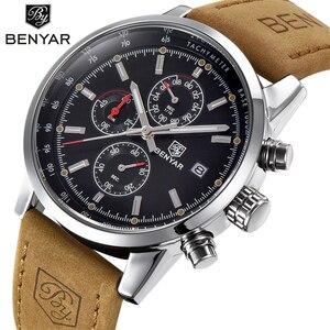 Image 1 - 2019 BENYAR Uhr Männer Top Marke Luxus Quarz Business herren Uhren Mode Militär Chronograph Sport Uhr Relogio Masculino