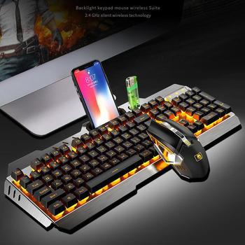 GloryStar Wireless Mechanical Keyboard And Mouse Game Set Rechargeable With Backlight For Gaming wireless gaming keyboard mouse set with led backlight gaming backlight 2 4ghz wireless keyboard alloy panel suitable for desktop