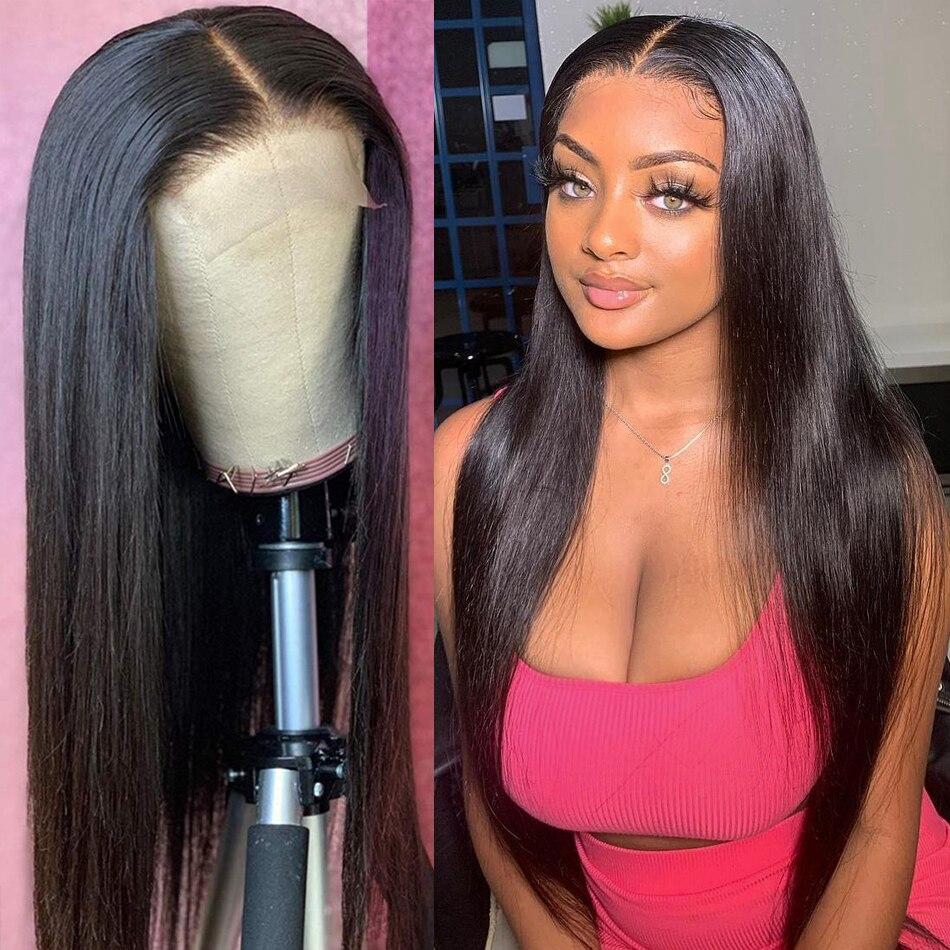 Rosabeauty 4x4 fechamento do laço peruca 28 30 Polegada em linha reta brasileiro remy do cabelo humano frontal perucas pré arrancadas para preto
