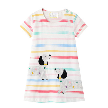 Baby Girls Dress Cotton Summer Cartoon Cute Dog Animals Print Short Sleeve Kids Clothes Stripes Princess Children