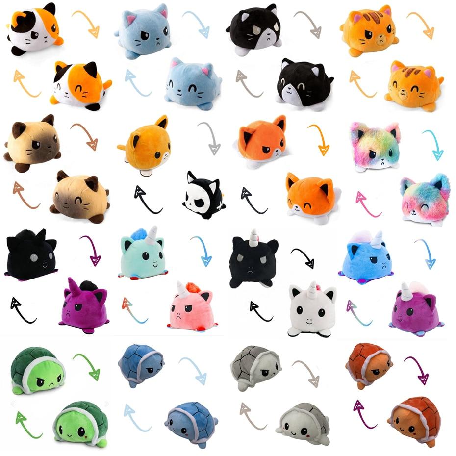 Забавные игрушки, детские мягкие игрушки Реверсивный кота, одежда для девочек с принтом Детские Plushie плюшевые Животные Единорог двухсторон...