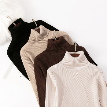 HLBCBG Chic Autumn winter thick Sweater Pullovers Women Long Sleeve casual warm basic turtleneck Sweater female knit Jumpers top thick warm women turtleneck 2020 winter women cashmere sweaters and pullovers knit long sleeve wool sweater female jumper
