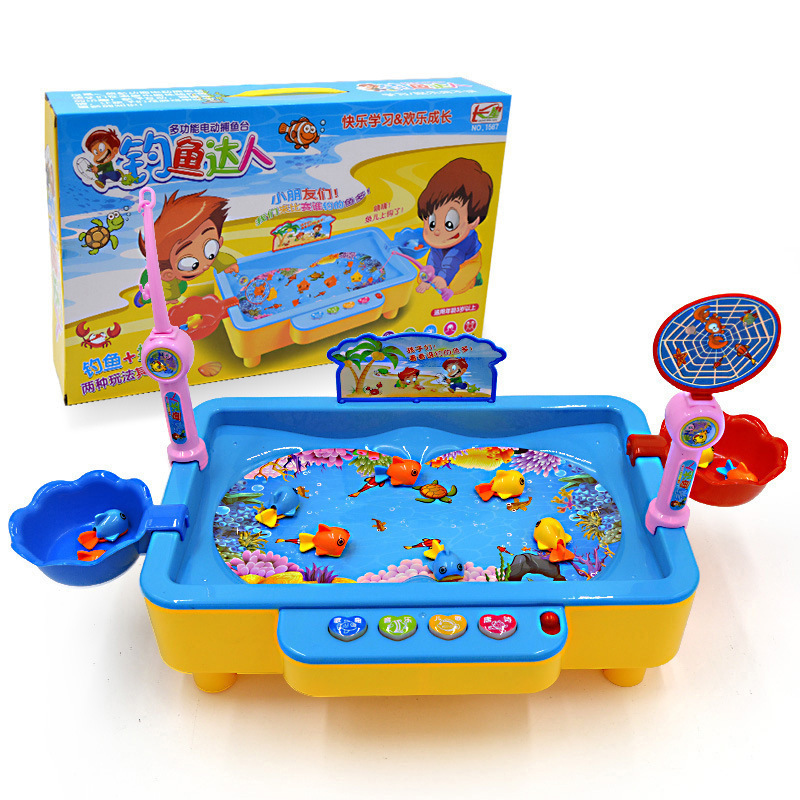 Children Fishing Toys Can Add Water Magnetic Music Educational Parent And Child Game Plastic Toy Fishing Taiwan